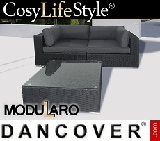 Poly rattan Lounge Set, 3 modules, Modularo, Black
