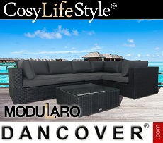 Poly rattan Lounge Set VI, 4 modules, Modularo, Black