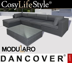 Poly rattan Lounge Set III, 6 modules, Modularo, Grey