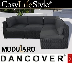 Poly rattan Lounge Sofa, 4 modules, Modularo, Black