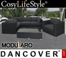 Poly rattan Lounge Set II, 6 modules, Modularo, Black