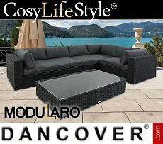 Poly rattan Lounge Set IV, 4 modules, Modularo, Black