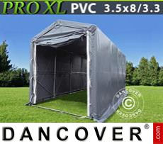 Storage shelter PRO 3,5x8x3,3x3,94 m, PVC, Grey