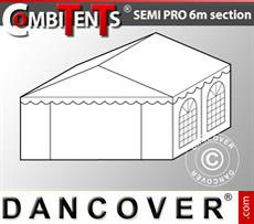 4m end section extension for Semi PRO CombiTent, 6x4m, PVC, White