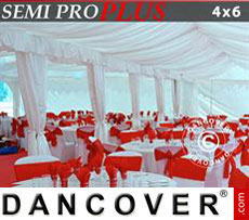 Marquee lining and leg curtain pack, white, for 4x6 m marquee SEMI PRO Plus
