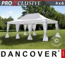 Marquee 4x6 m White, incl. 8 decorative curtains