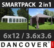 Marquee Exclusive 6x12m, White/Gazebo 3,6x3,6m, Sand