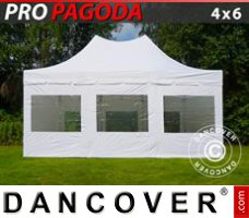 Pop up gazebo FleXtents PRO Peak Pagoda 4x6 m White, incl. 8 sidewalls