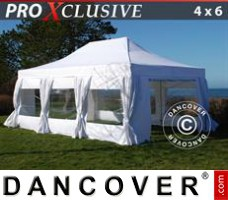 Pop up gazebo FleXtents PRO 4x6 m White, incl. 8 sidewalls & decorative...