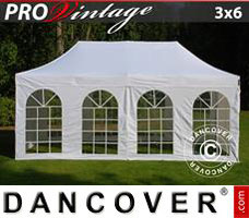 Pop up gazebo FleXtents PRO Vintage Style 3x6 m White, incl. 6 sidewalls