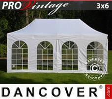 Pop up gazebo FleXtents PRO Vintage Style 3x6 m White, incl. 6 sidewalls