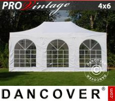 Pop up gazebo FleXtents PRO Vintage Style 4x6 m White, incl. 8 sidewalls