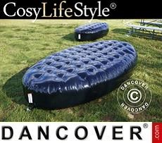 Event Furniture Inflatable bench, Chesterfield style, 1.5x3x0.45 m, Black