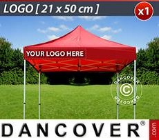 Logo Print Branding 1 pc. valance print 21x50 cm on FleXtents, left-aligned