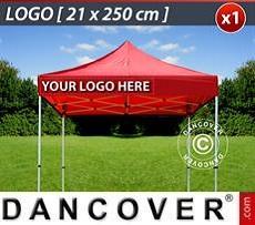 Logo Print Branding 1 pc. valance print 21x250 cm on FleXtents, left-aligned