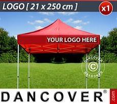 Logo Print Branding 1 pc. valance print 21x250 cm on FleXtents, right-aligned