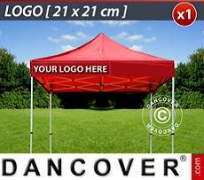 Logo Print Branding 1 pc. valance print 21x21 cm on FleXtents, left-aligned