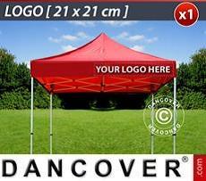 Logo Print Branding 1 pc. valance print 21x21 cm on FleXtents, right-aligned