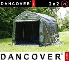 Portable Garage Storage tent PRO 2x2x2 m PE, with ground cover, Green grey