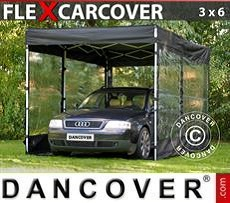 Racing tents Folding garage FleX Carcover, 3x6 m, Black