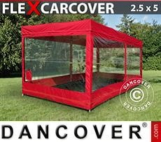 Racing tents Folding garage FleX Carcover, 2,5x5 m, Red