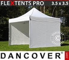 Racing tents Pop up gazebo FleXtents PRO 3.5x3.5m White, incl. 4 sidewalls