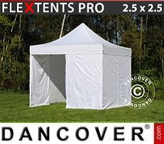 Racing tents Pop up gazebo FleXtents PRO 2.5x2.5 m White, incl. 4 sidewalls