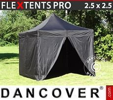 Racing tents Pop up gazebo FleXtents PRO 2.5x2.5 m Black, incl. 4 sidewalls