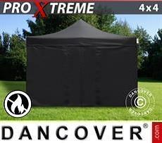 Racing tents Pop up gazebo FleXtents Xtreme 4x4 m Black, Flame retardant, incl. 4 sidewalls
