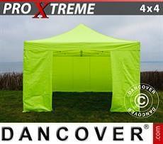Racing tents Pop up gazebo FleXtents Xtreme 4x4 m Neon yellow/green, incl. 4 sidewalls
