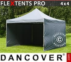 Racing tents Pop up gazebo FleXtents PRO 4x4 m Grey, incl. 4 sidewalls