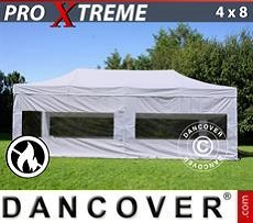 Racing tents Pop up gazebo FleXtents Xtreme 4x8 m White, Flame retardant, incl. 4 sidewalls
