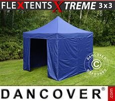 Racing tents Pop up gazebo FleXtents Xtreme 3x3 m Dark blue, incl. 4 sidewalls