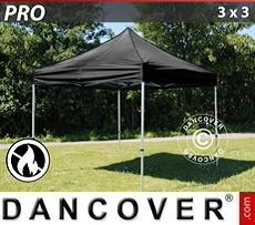 Racing tents Pop up gazebo FleXtents PRO 3x3 m Black, Flame retardant