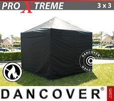 Racing tents Pop up gazebo FleXtents Xtreme 3x3 m Black, Flame retardant, incl. 4 sidewalls