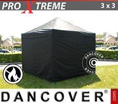 Racing tents Pop up gazebo FleXtents Xtreme 3x3 m Black, Flame retardant, incl. 4 sidewalls