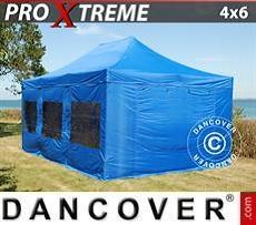 Racing tents Pop up gazebo FleXtents Xtreme 4x6 m Blue, incl. 8 sidewalls