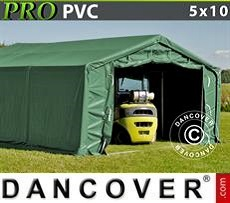 Storage shelter PRO 5x10x2x2.9 m, PVC, Green