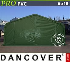 Storage shelter PRO 6x18x3.7m PVC, Green
