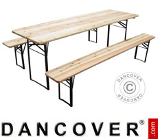 Tisch- und Bank-Garnitur, Holz, einklappbare Stahlbeine, 220cm