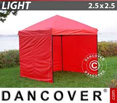 Faltzelt FleXtents Light 2,5x2,5m Rot, mit 4 wänden