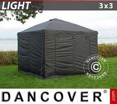 Faltzelt FleXtents Light 3x3m Schwarz, mit 4 wänden
