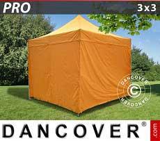 Faltzelt FleXtents PRO 3x3m Orange, mit 4 wänden