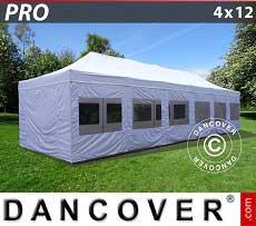 Partyzelt PRO 4x12m Weiß, mit wänden