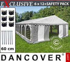 Partyzelt Exclusive 6x12m PVC, Grau/Weiß