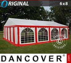 Partyzelt Original 6x8m PVC, Rot/Weiß