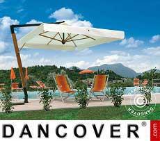 Freiarm-Sonnenschirm Palladio Braccio mit Volant, 3,5x3,5m, Ekrü