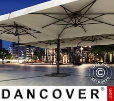 Freiarm-Sonnenschirm Alu Poker mit Volant, 4-fach, 6x6m, Ekrü