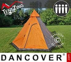 Campingzelt Teepee, TentZing®, 4 Personen, Orange/Grau