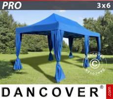 Faltzelt FleXtents PRO 3x6m Blau, inkl. 6 Vorhänge
